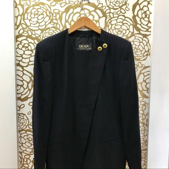 Escada Jackets & Blazers - Escada Deep Blue Asymmetrical Seamless Blazer